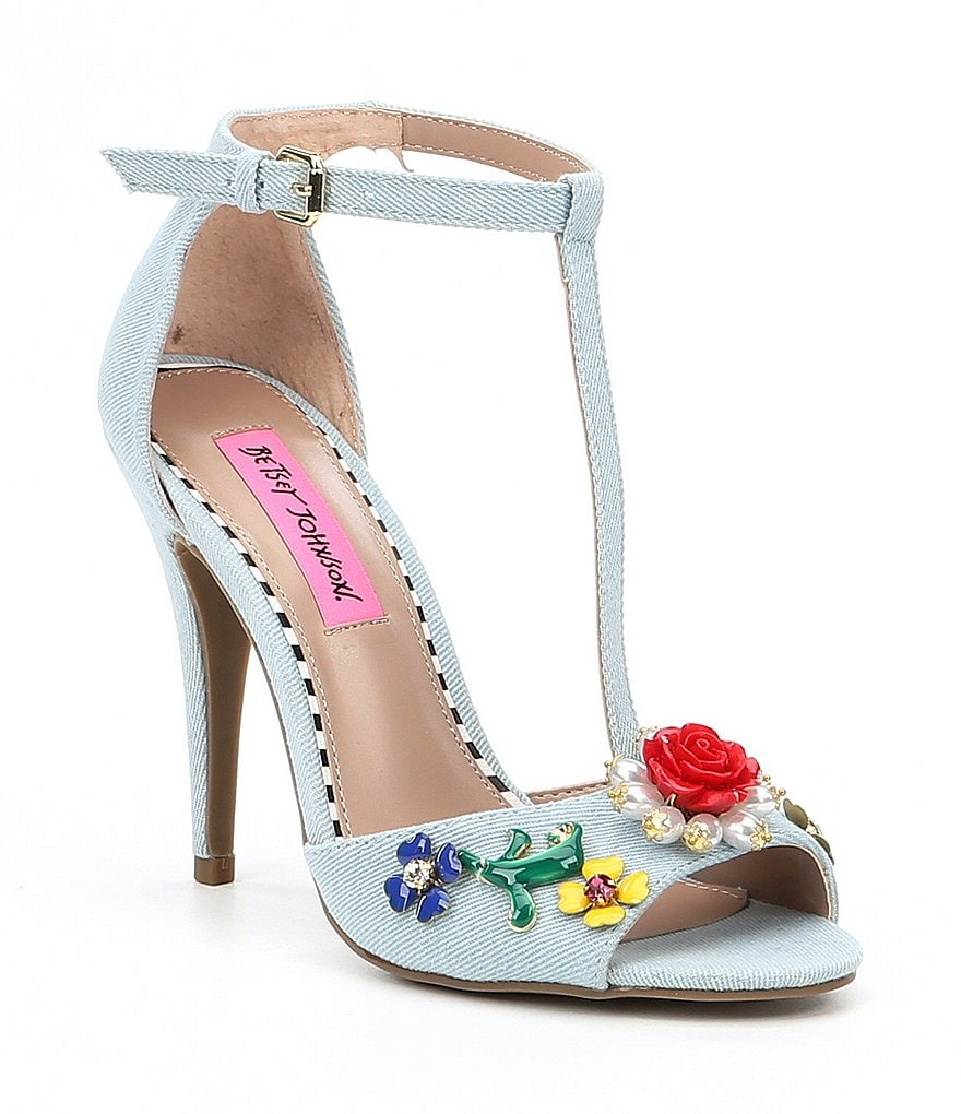 Betsey Johnson Lenox Denim T-Strap Flower Ornament Dress Sandals