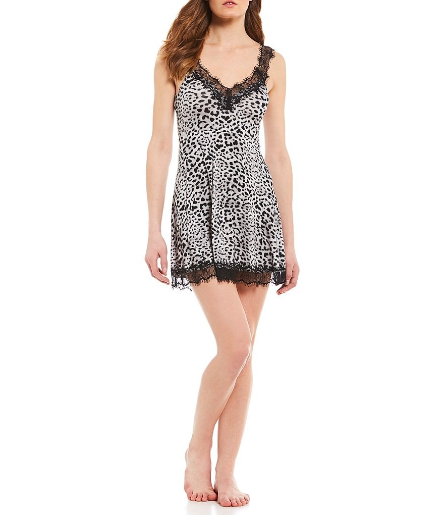 Betsey Johnson Leopard Knit & Lace Chemise