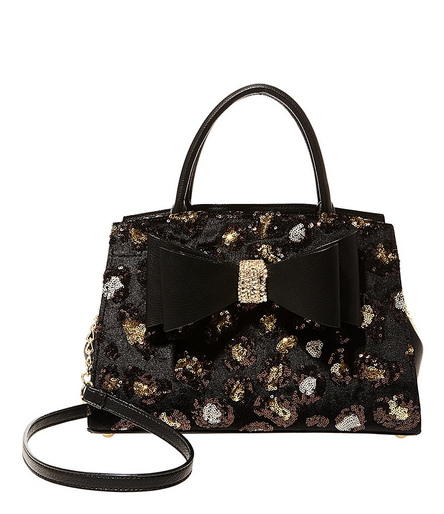 Betsey Johnson Sequined Leopard Convertible Bow Satchel with Clutch