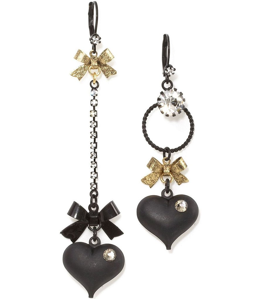 Betsey Johnson Mismatched Bow and Crystal Heart Statement Earrings