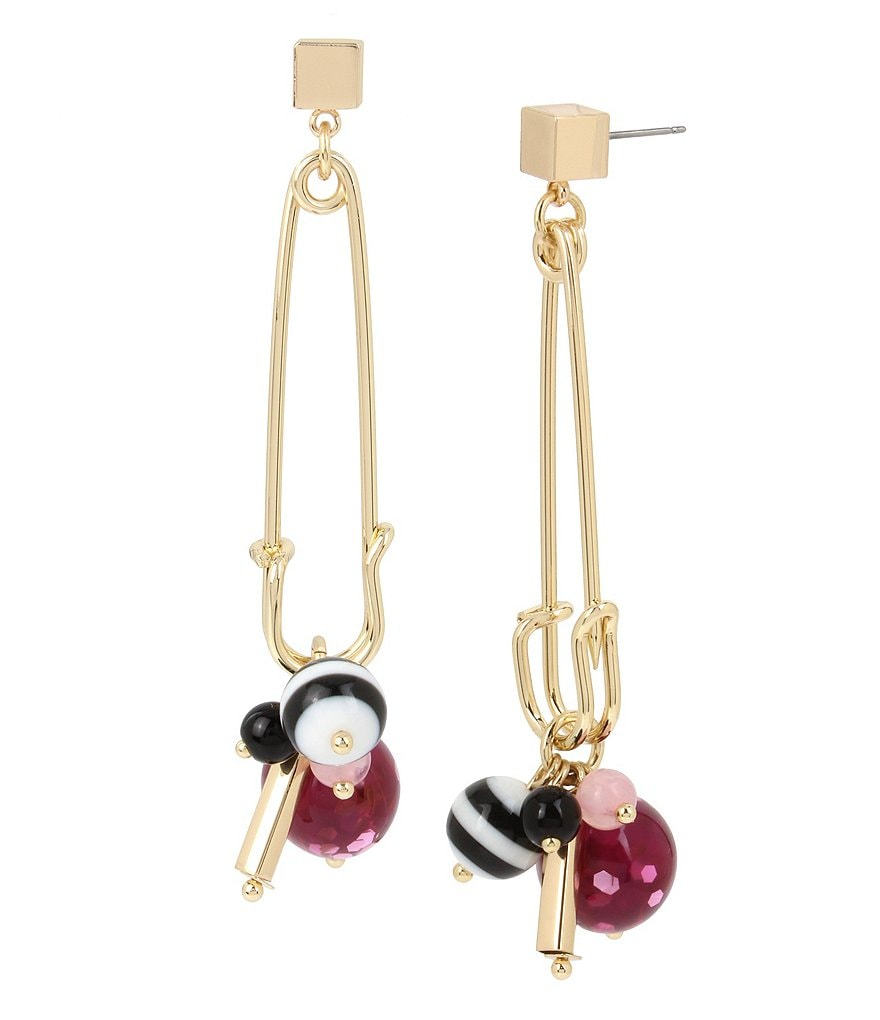 Betsey Johnson Mixed Multi Charm Safety Pin Drop Earrings