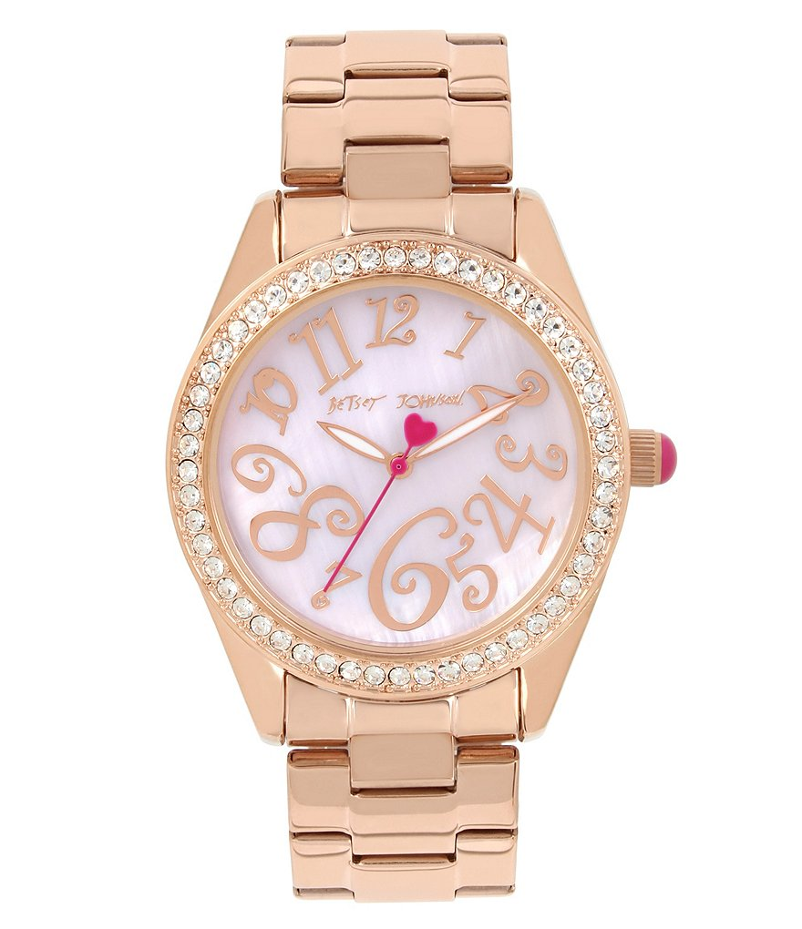 Betsey Johnson Mother-of-Pearl Analog Bracelet Watch