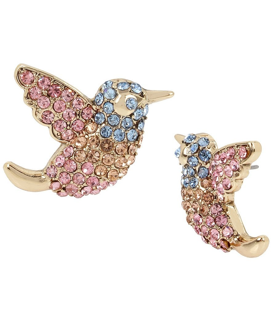 Betsey Johnson Pavé Bird Stud Earrings