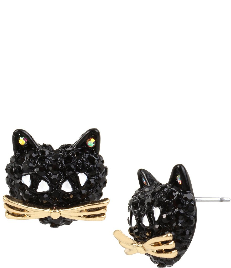 Betsey Johnson Pavé Black Cat Stud Earrings