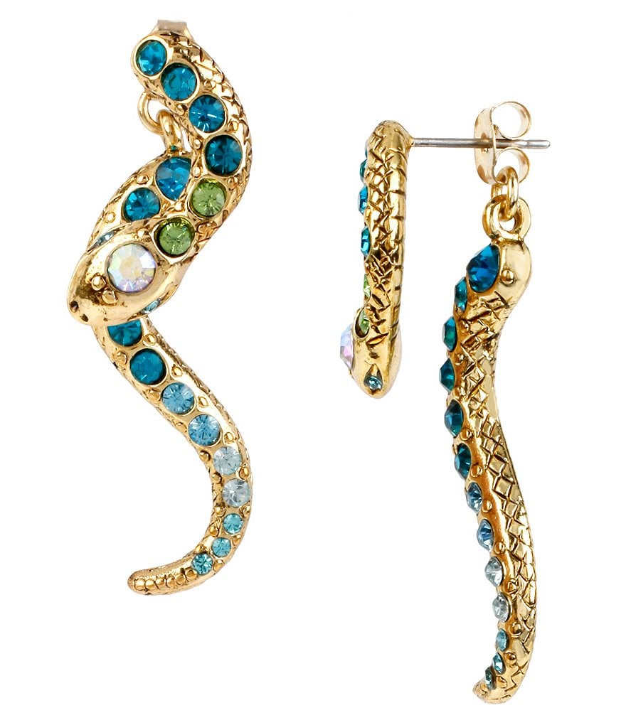 Betsey Johnson Pavé Crystal Snake Front/Back Statement Earrings