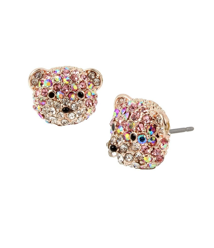 Betsey Johnson Pavé Teddy Bear Stud Earrings