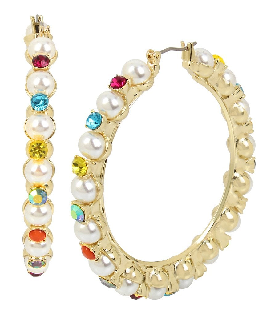 Betsey Johnson Pearl and Colorful Stone Hoop Statement Earrings