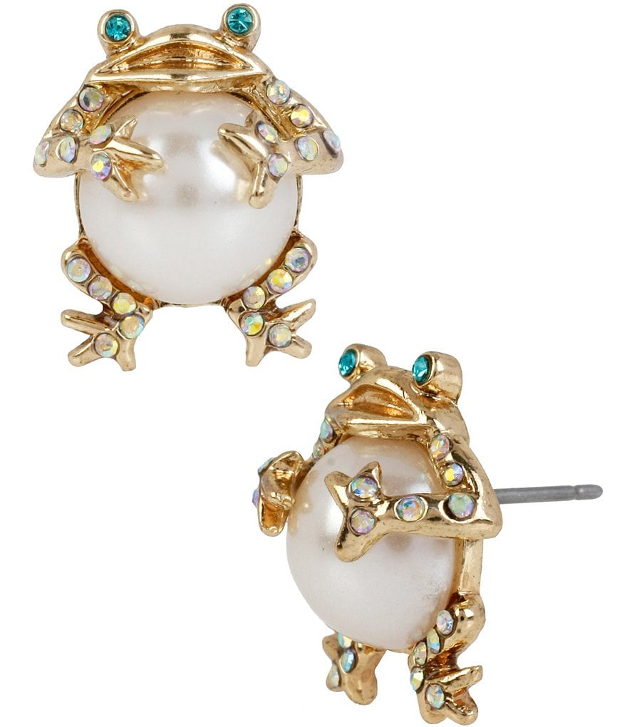 Betsey Johnson Faux-Pearl & Crystal Frog Stud Earrings