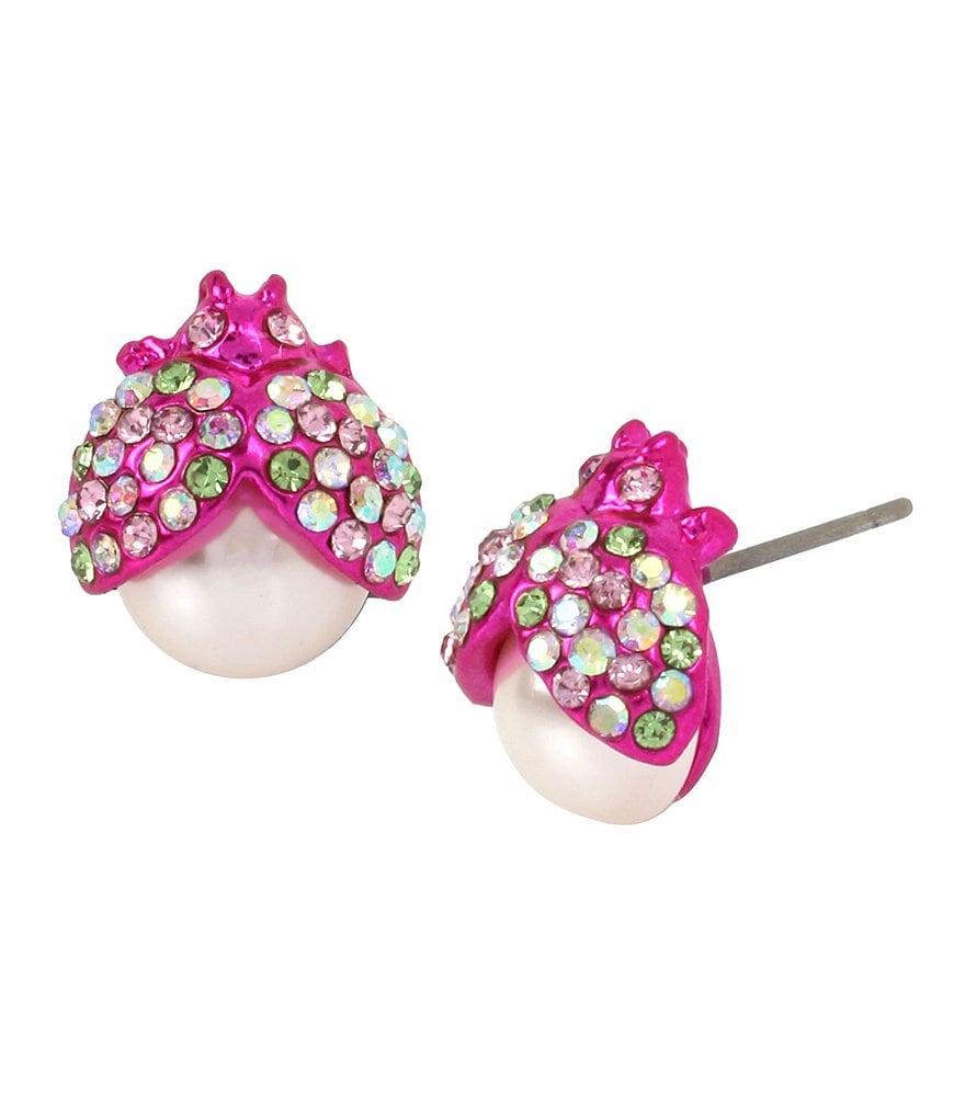 Betsey Johnson Pink Beetle Stud Earrings