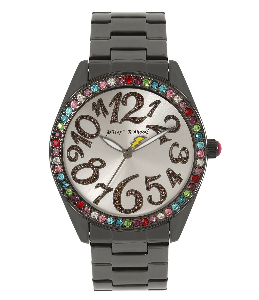 Betsey Johnson Rainbow-Bezel Analog Bracelet Watch
