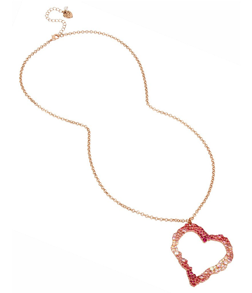 Betsey Johnson Semiprecious Rock Crystal Pink Tonal Stone Heart Pendant Necklace