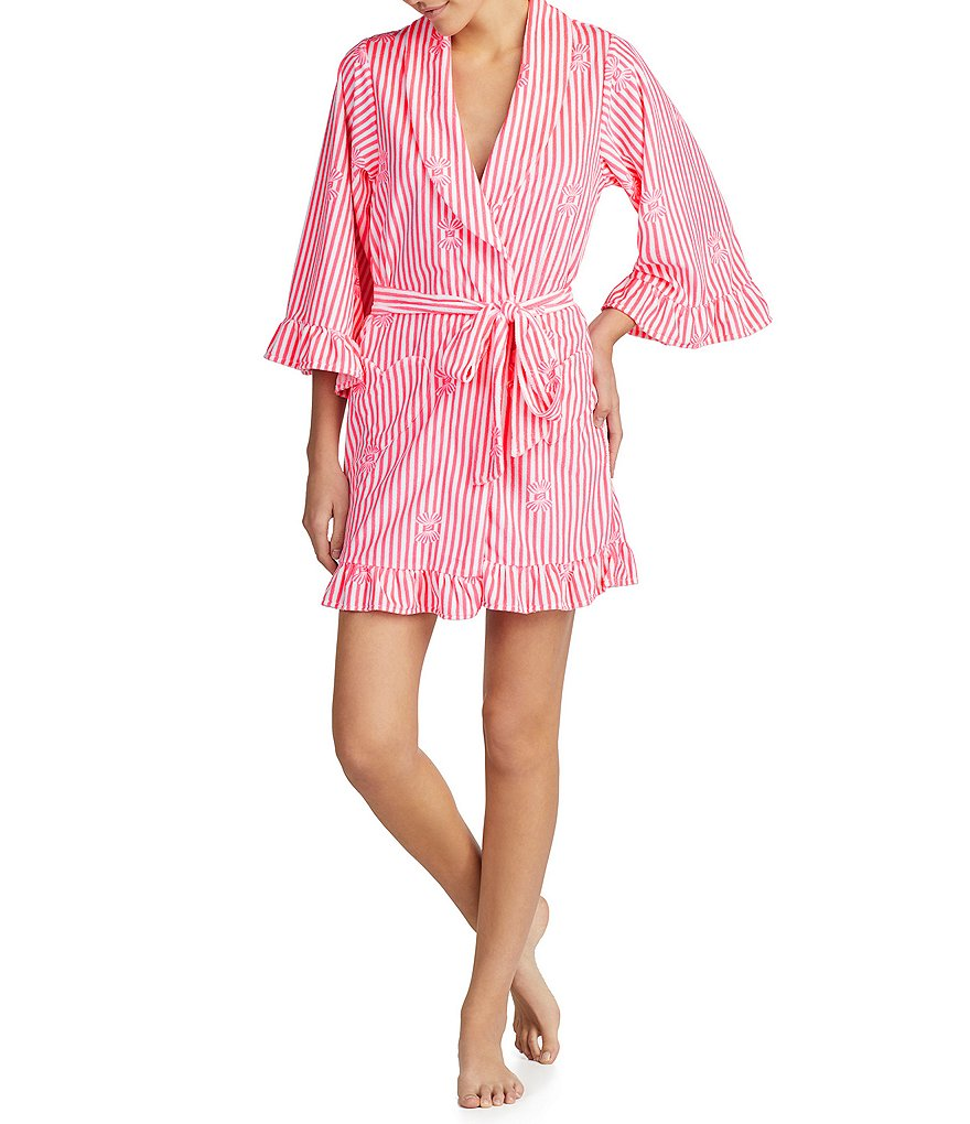 Betsey Johnson Stripe & Bow Print Vintage Terry Short Robe