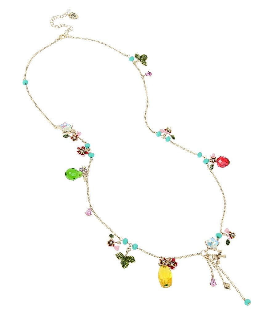 Betsey Johnson Tropical Fruit Charm Long Necklace
