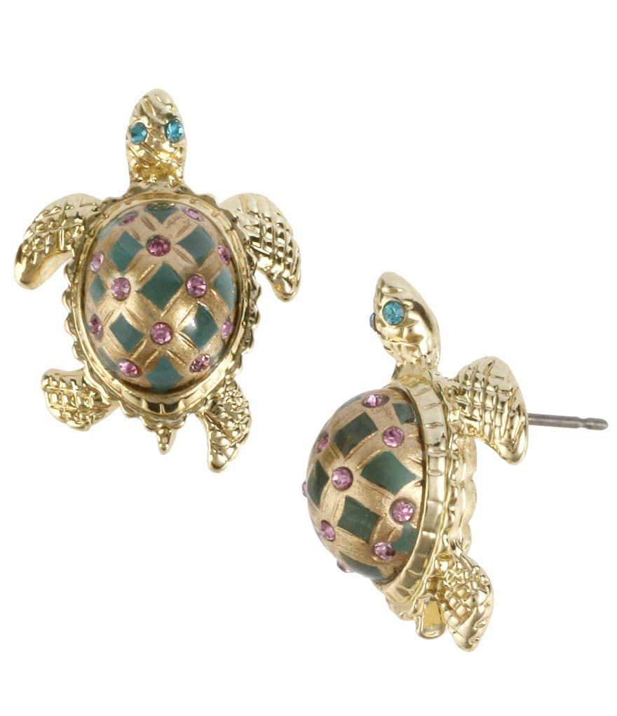 Betsey Johnson Turtle Stud Statement Earrings