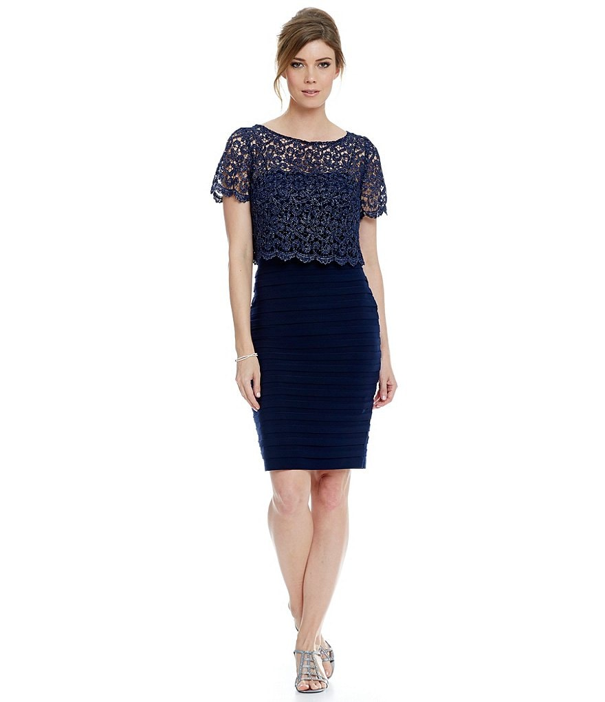 Betsy & Adam Lace Popover Banded Dress