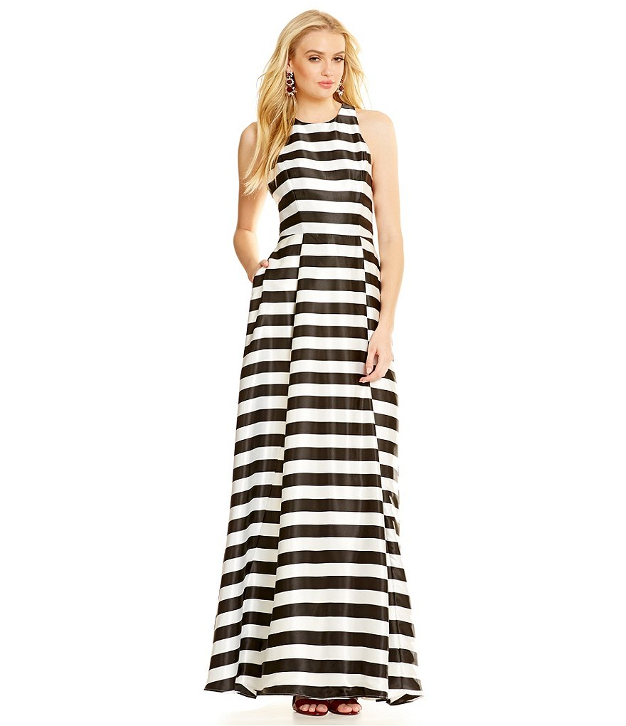 Betsy & Adam Satin Striped Racerback Gown