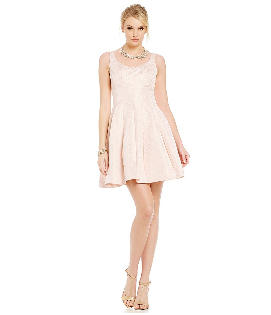 Betsy and Adam Double Scoop Fit-and-Flare Party Dress