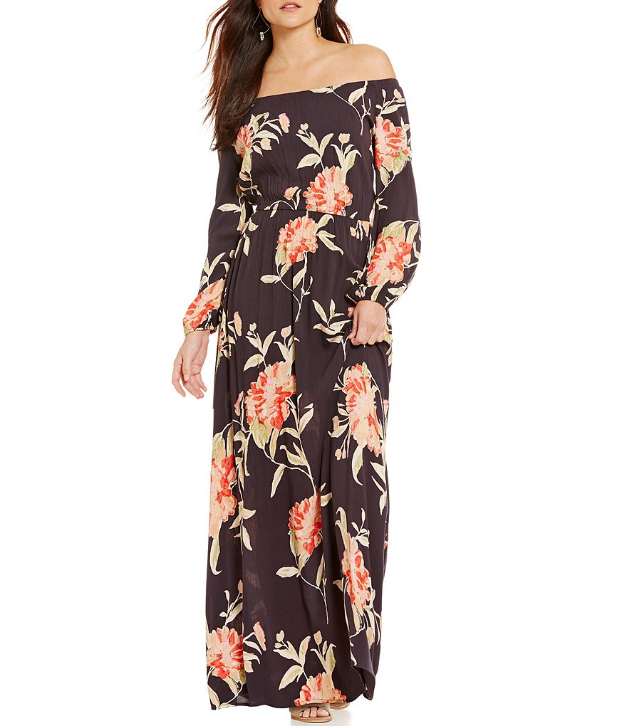 Billabong Crystal Ball Floral-Print Off-the-Shoulder Maxi Dress