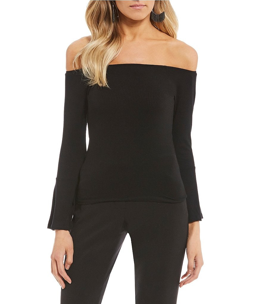 Billabong Out There Off-The-Shoulder Bell Sleeve Knit Top