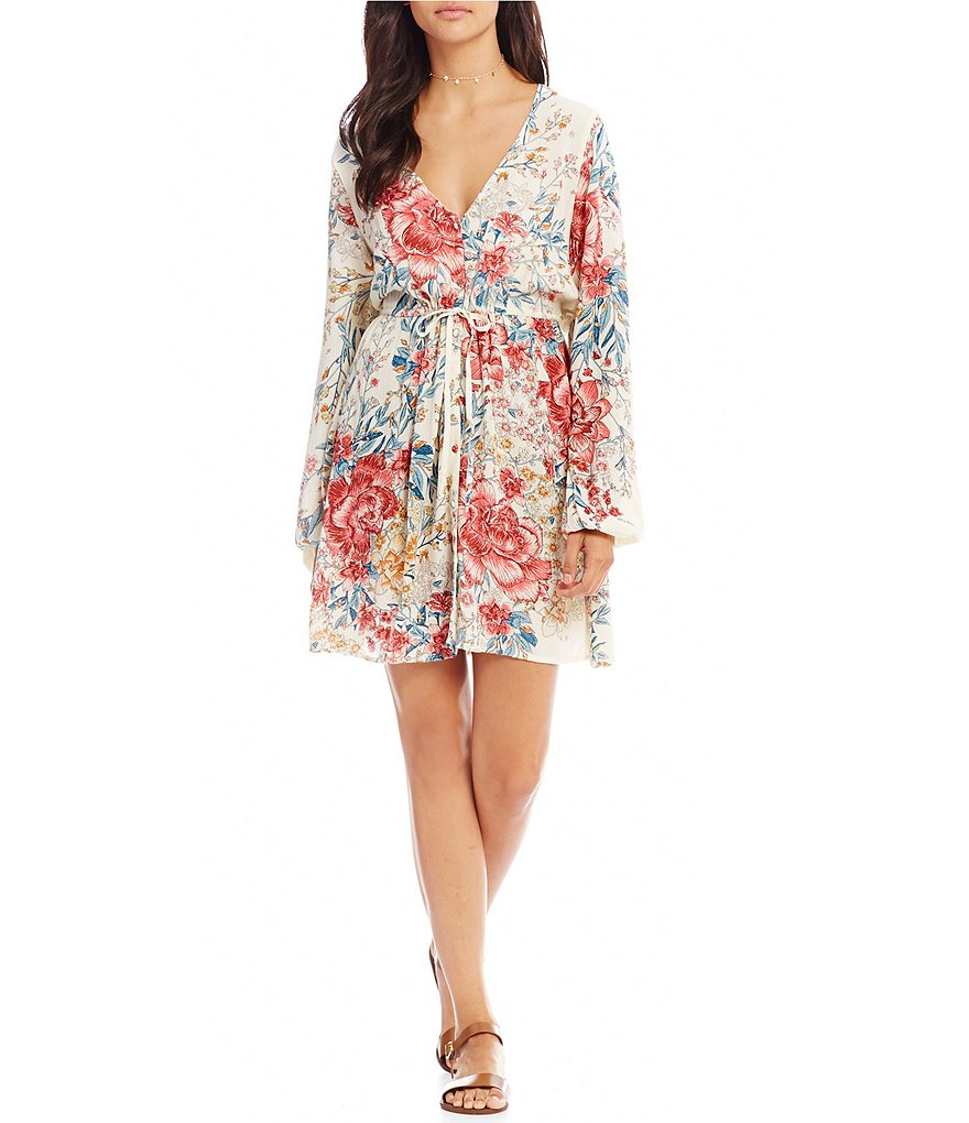 Billabong Rain On Floral Printed Tie-Waist Sheath Dress