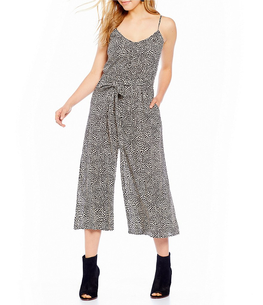 Billabong Wild Hearts Leopard Printed Culotte Jumpsuit