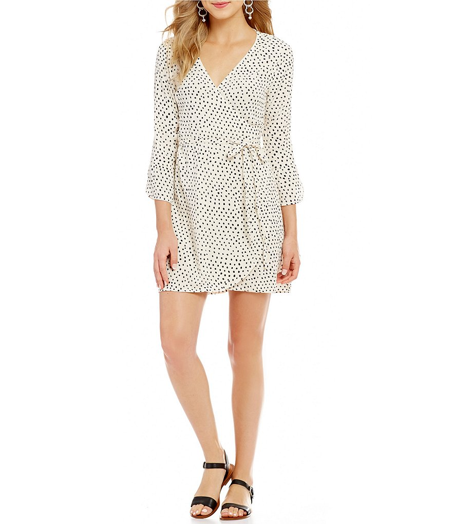 Billabong Wrap It Up Dotted 3/4-Tulip-Sleeve Wrap Dress