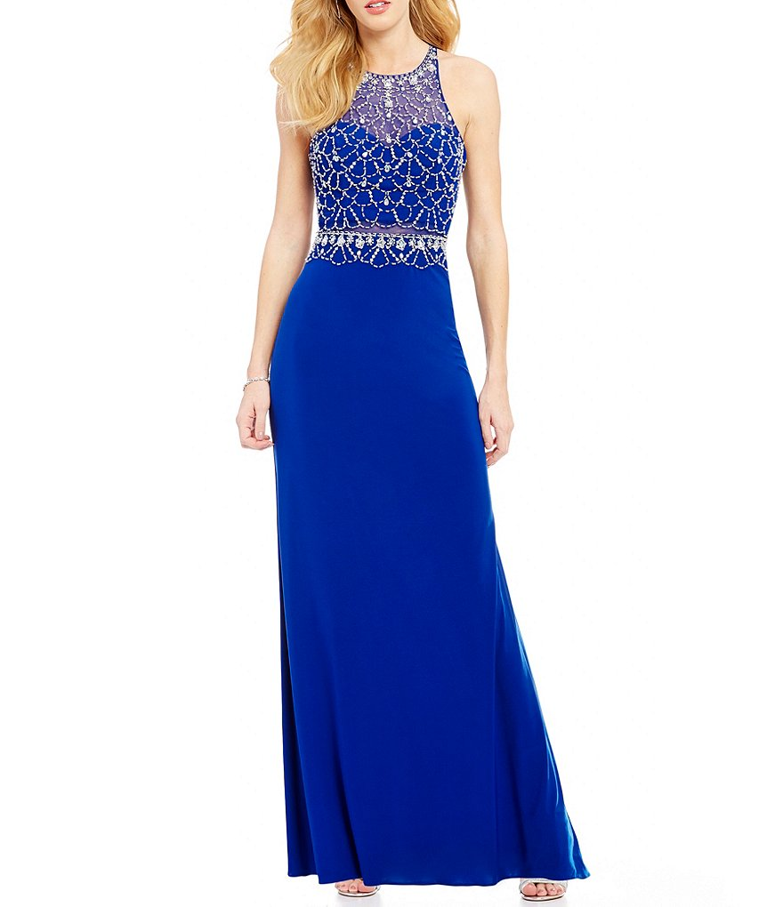 Blondie Nites High Neck Beaded Bodice Illusion Waist Long Dress
