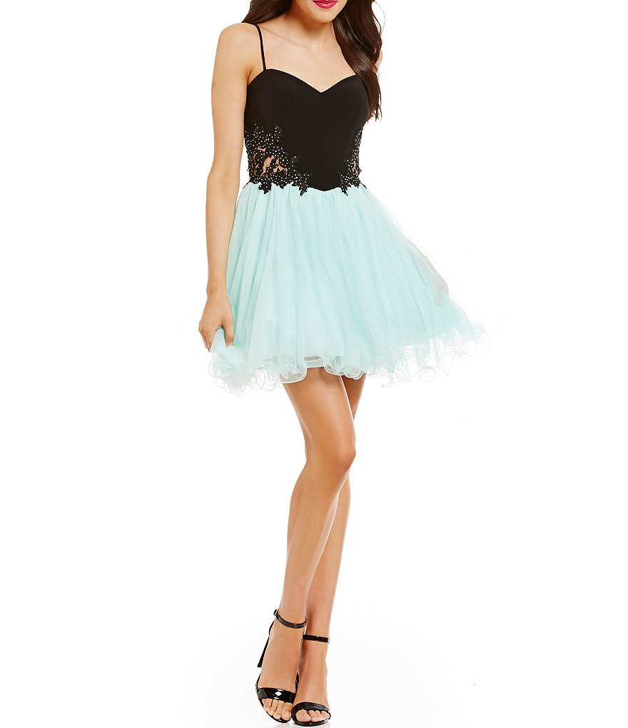 Blondie Nites Color Block Applique Sides Fit-and-Flare Party Dress