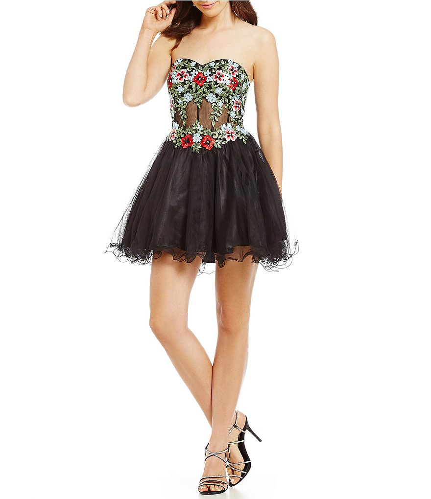 Blondie Nites Floral Embroidered Corset Dress