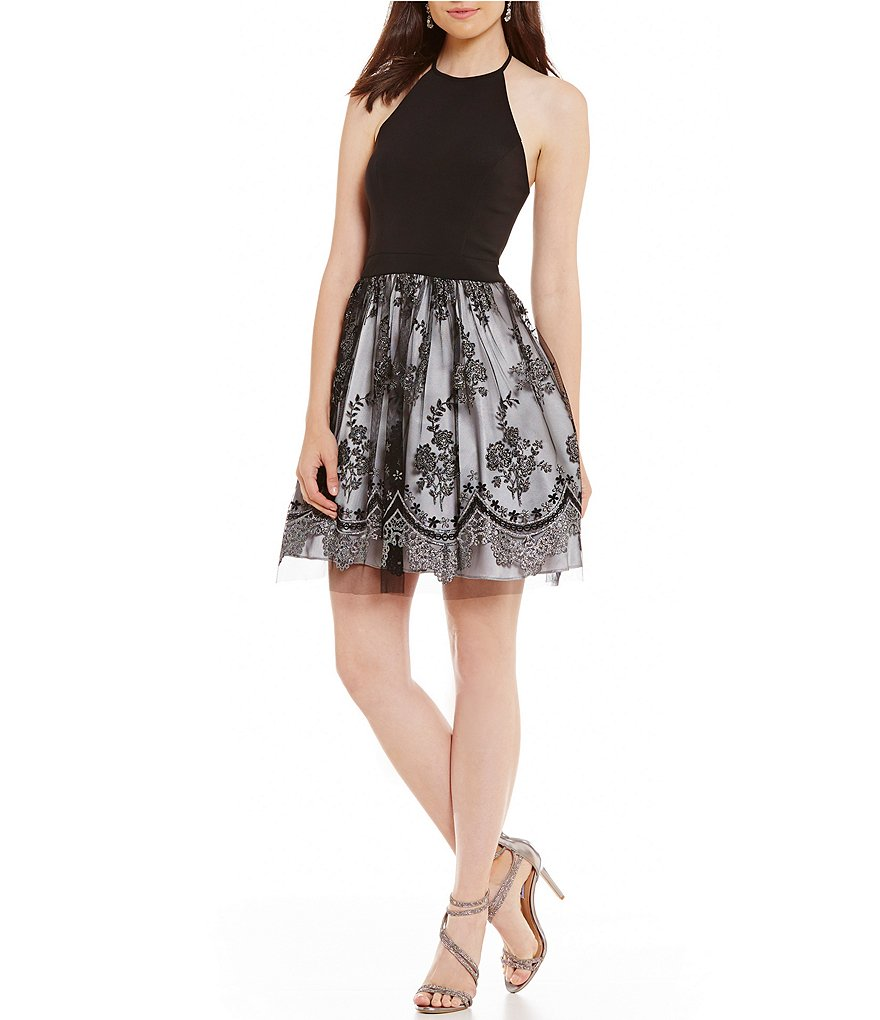 Blondie Nites Glitter Flocked Fit-And-Flare Dress