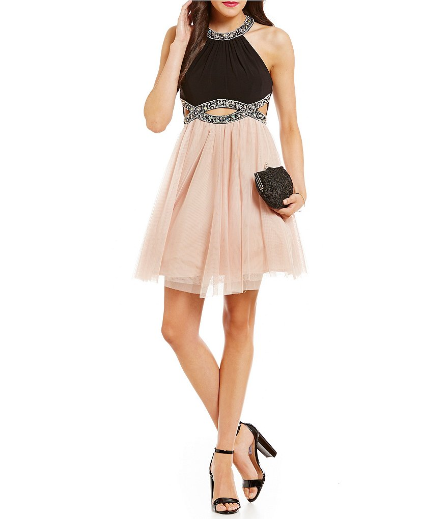 Blondie Nites High Neck Cutout Waist Swing Party Dress