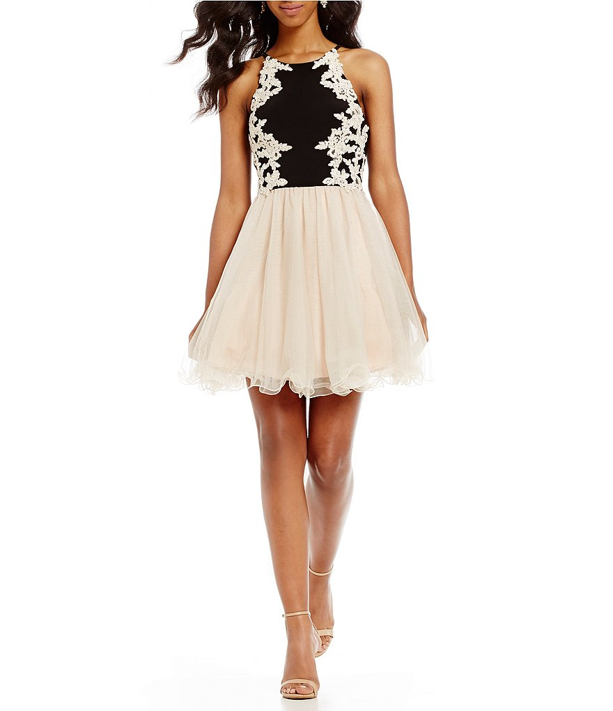 Blondie Nites High Neck Embroidered Fit-And-Flare Dress