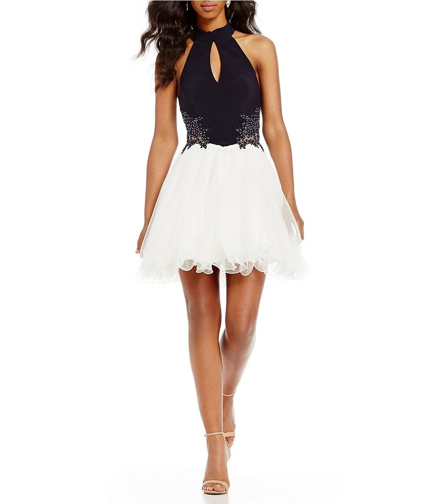Blondie Nites Keyhole Neck Applique Sides Fit-And-Flare Dress