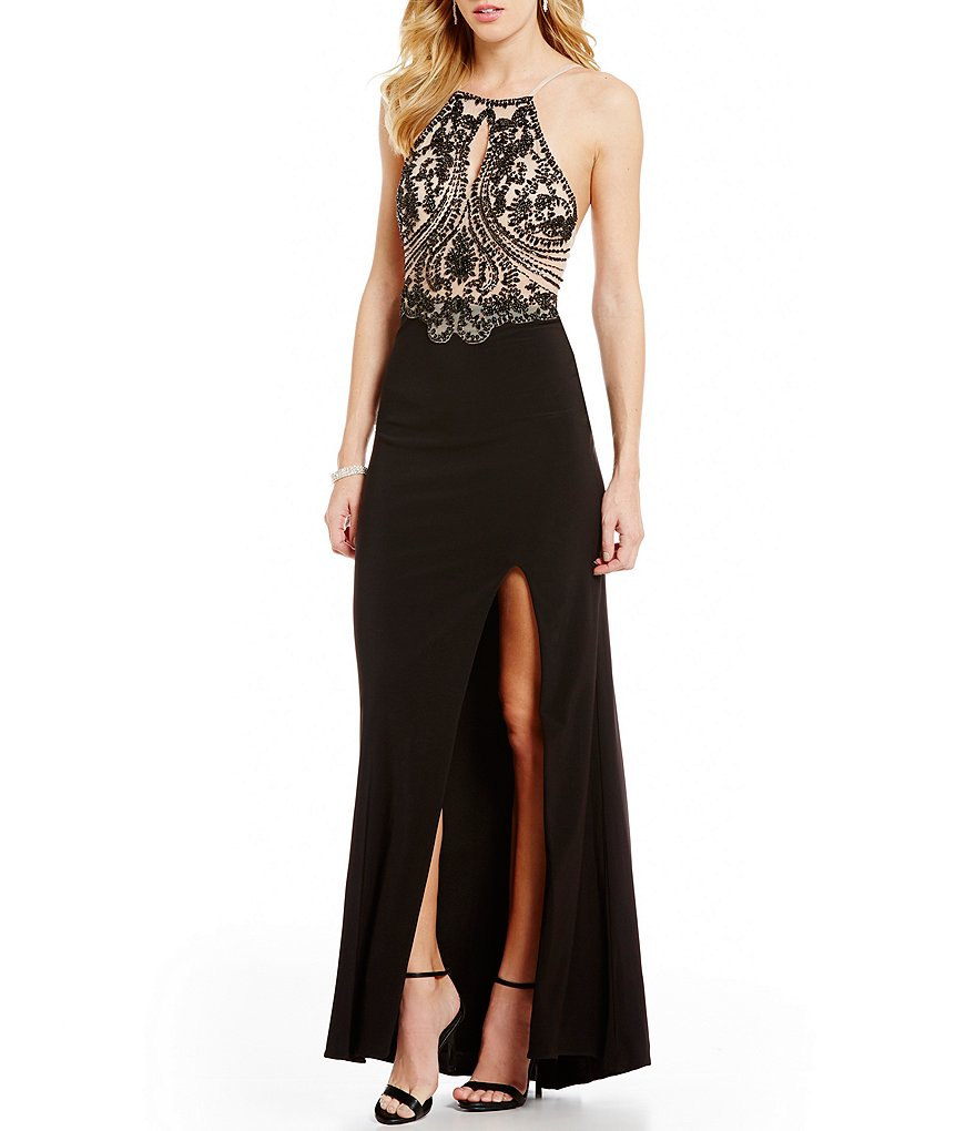 Blondie Nites High Keyhole Neckline Tonal Beaded Bodice Long Dress