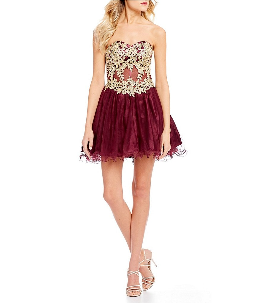 Blondie Nites Metallic Embroidered Corset Dress