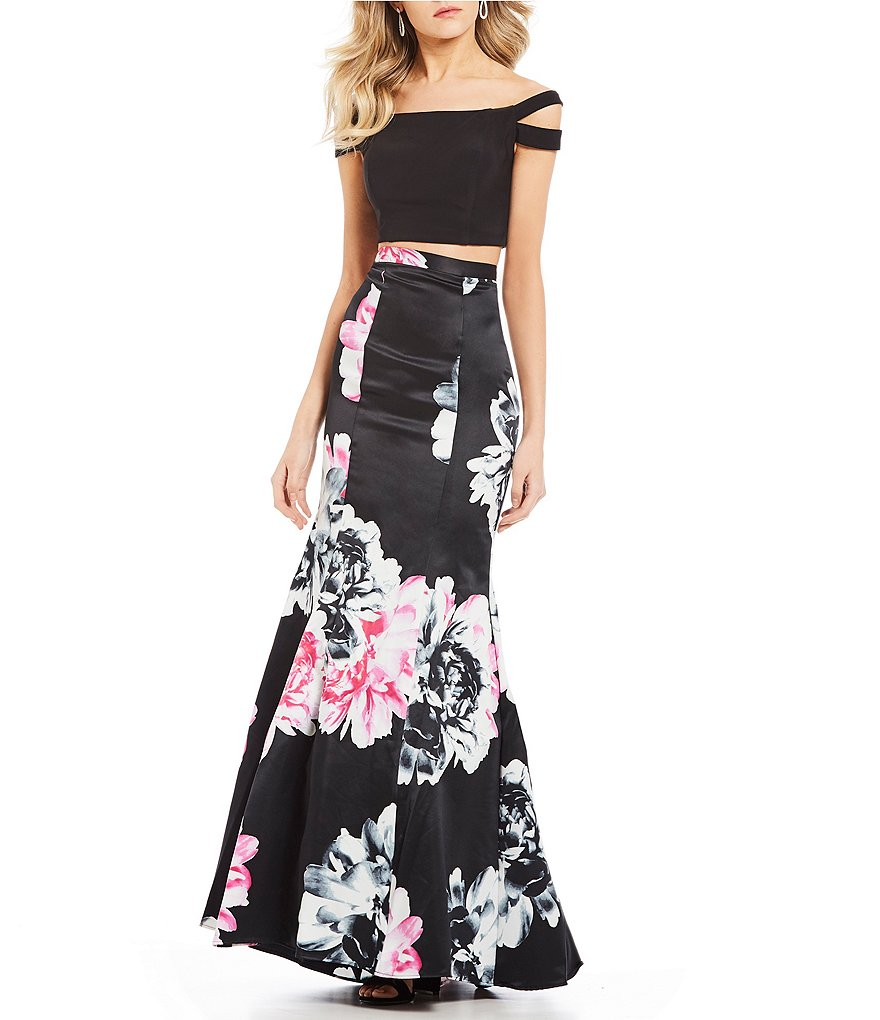 Blondie Nites Off-The-Shoulder Top with Floral Skirt Two-Piece Dress