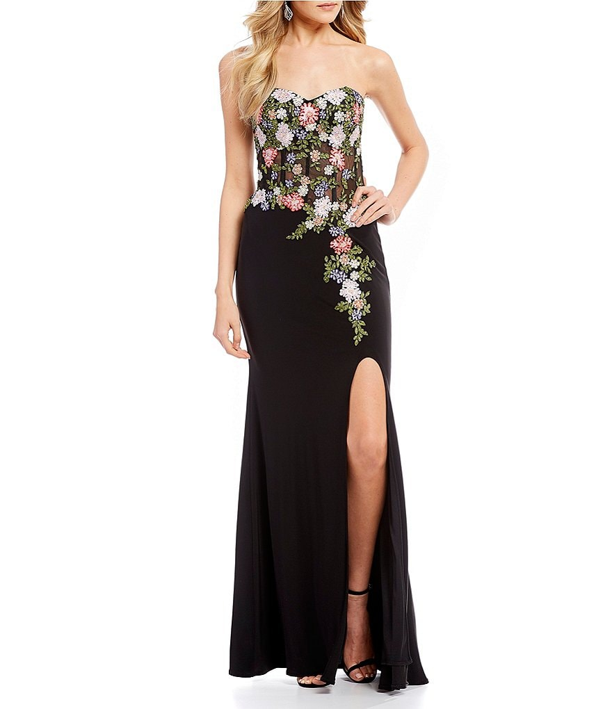 Blondie Nites Strapless Embroidered Corset Bodice Long Dress