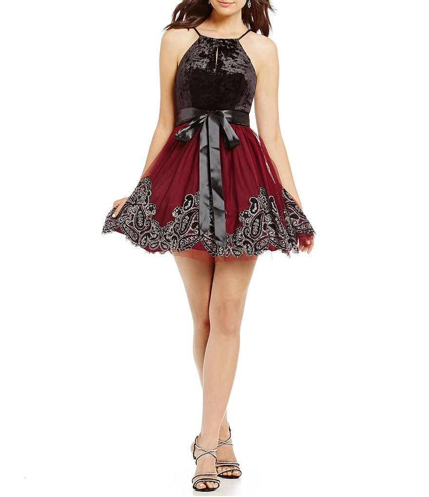 Blondie Nites Velvet Bodice Flocked Fit-And-Flare Dress