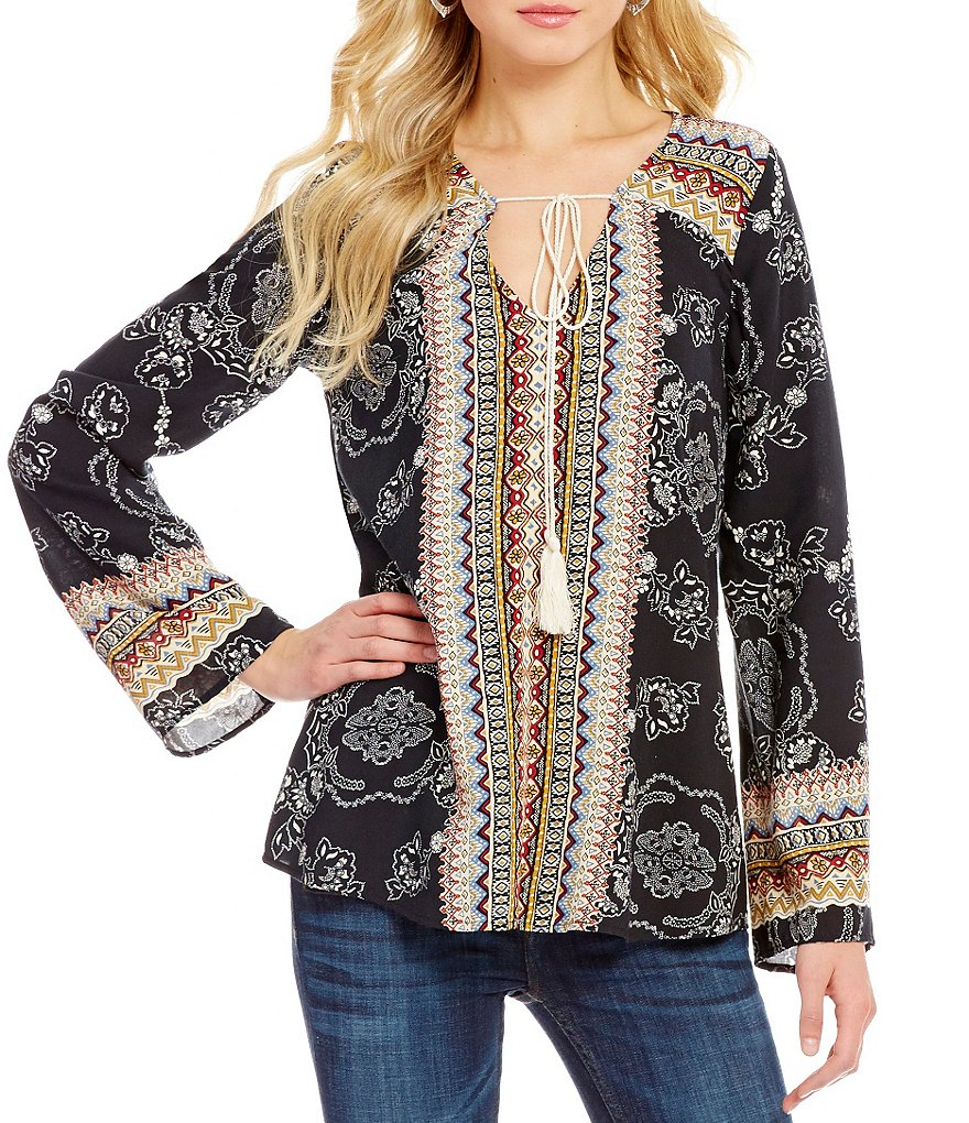 Blu Pepper Border Print Tie-Front Blouse