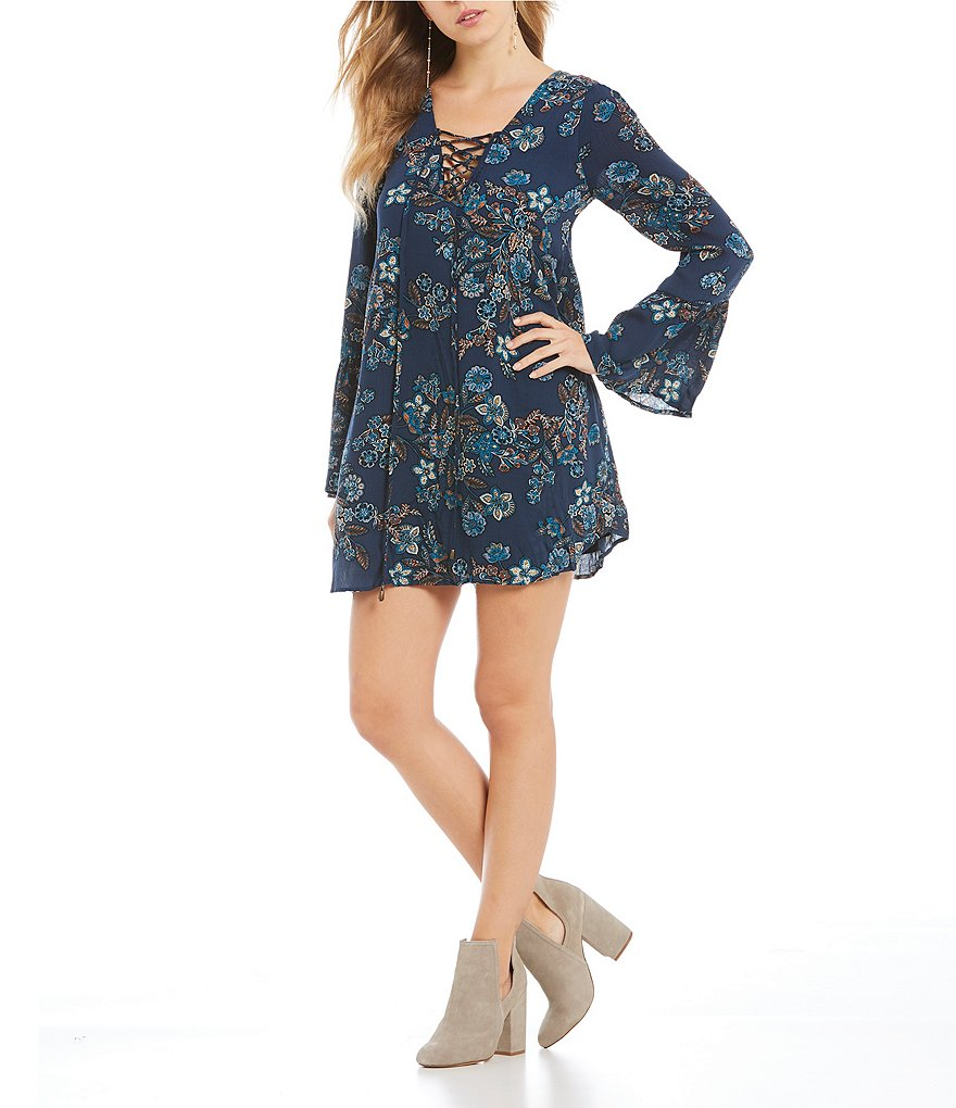 Blu Pepper Floral Printed Lace-Up Bell Sleeve Swing Dress