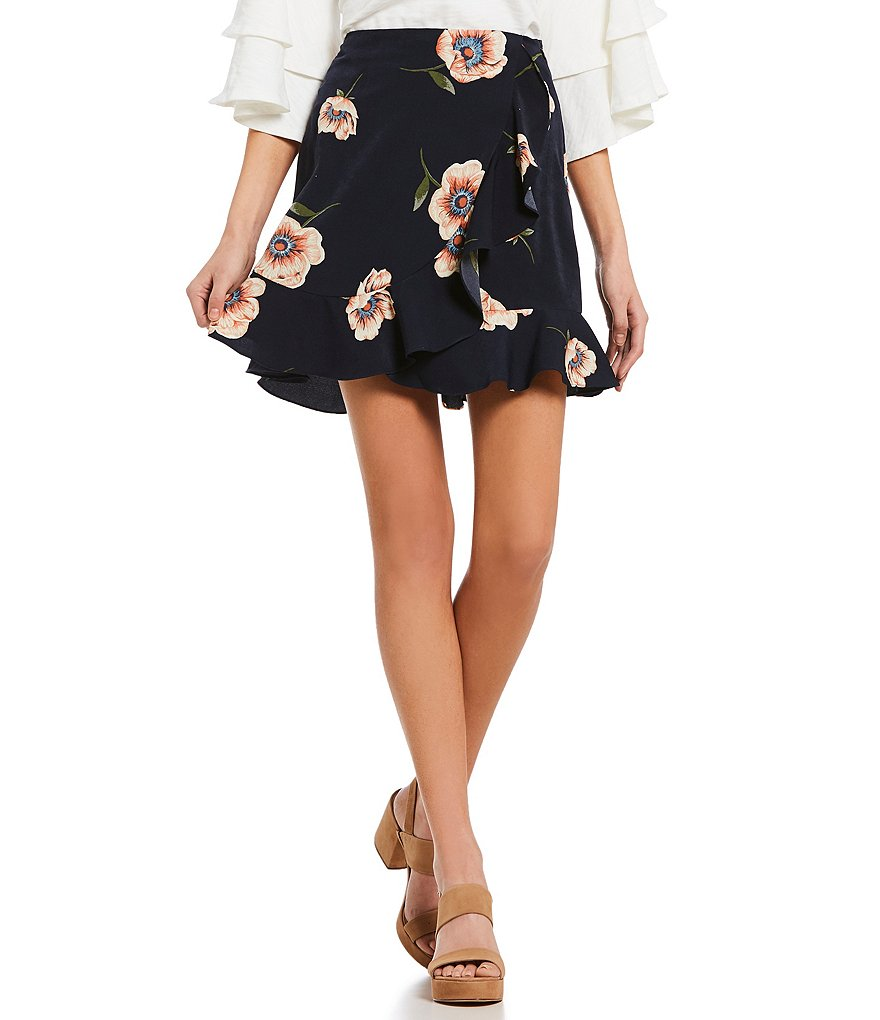 Blu Pepper Floral Printed Ruffle Faux Wrap Skirt