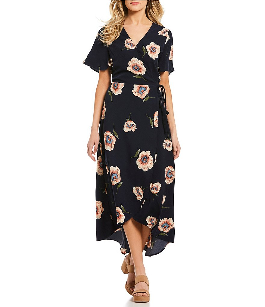 Blu Pepper Floral Printed Short Sleeve Wrap Maxi Dress