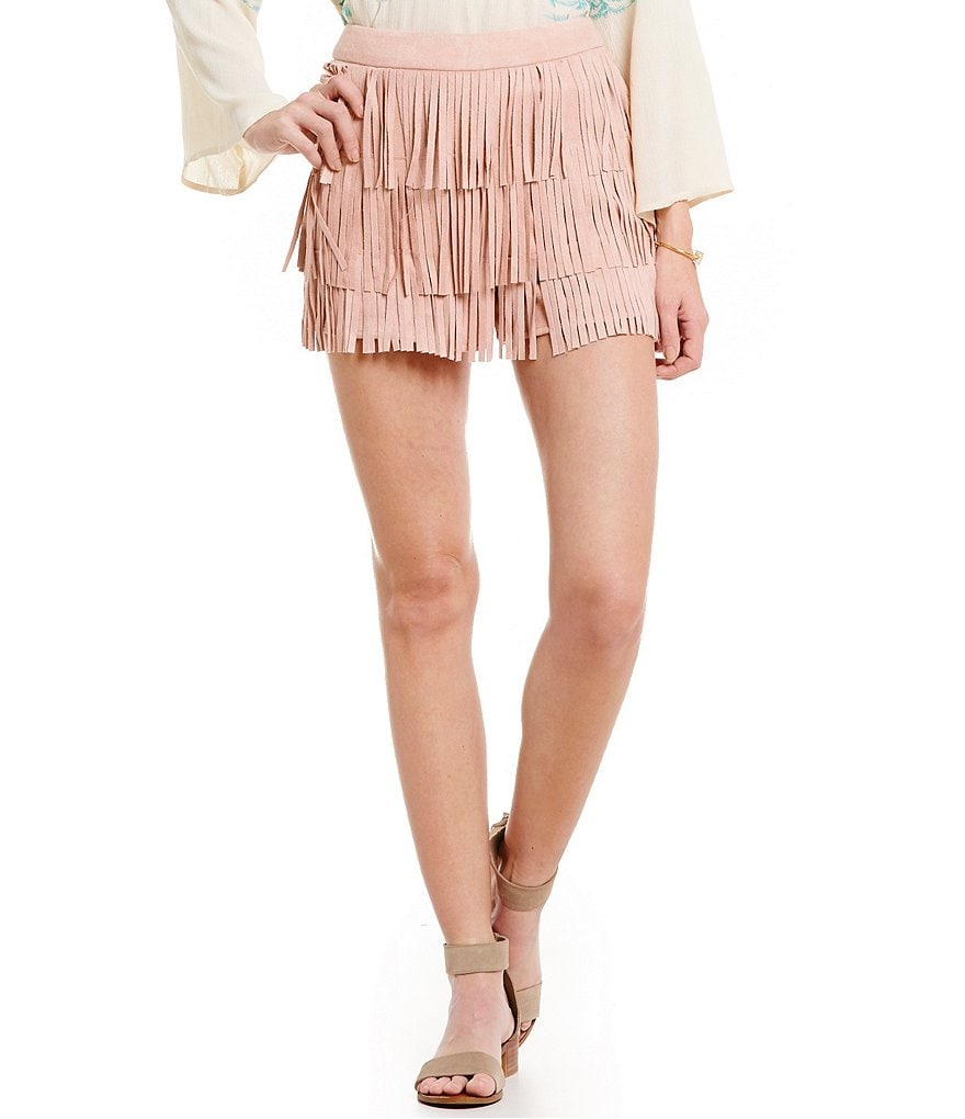 Blu Pepper Fringe-Trimmed Faux-Suede Shorts