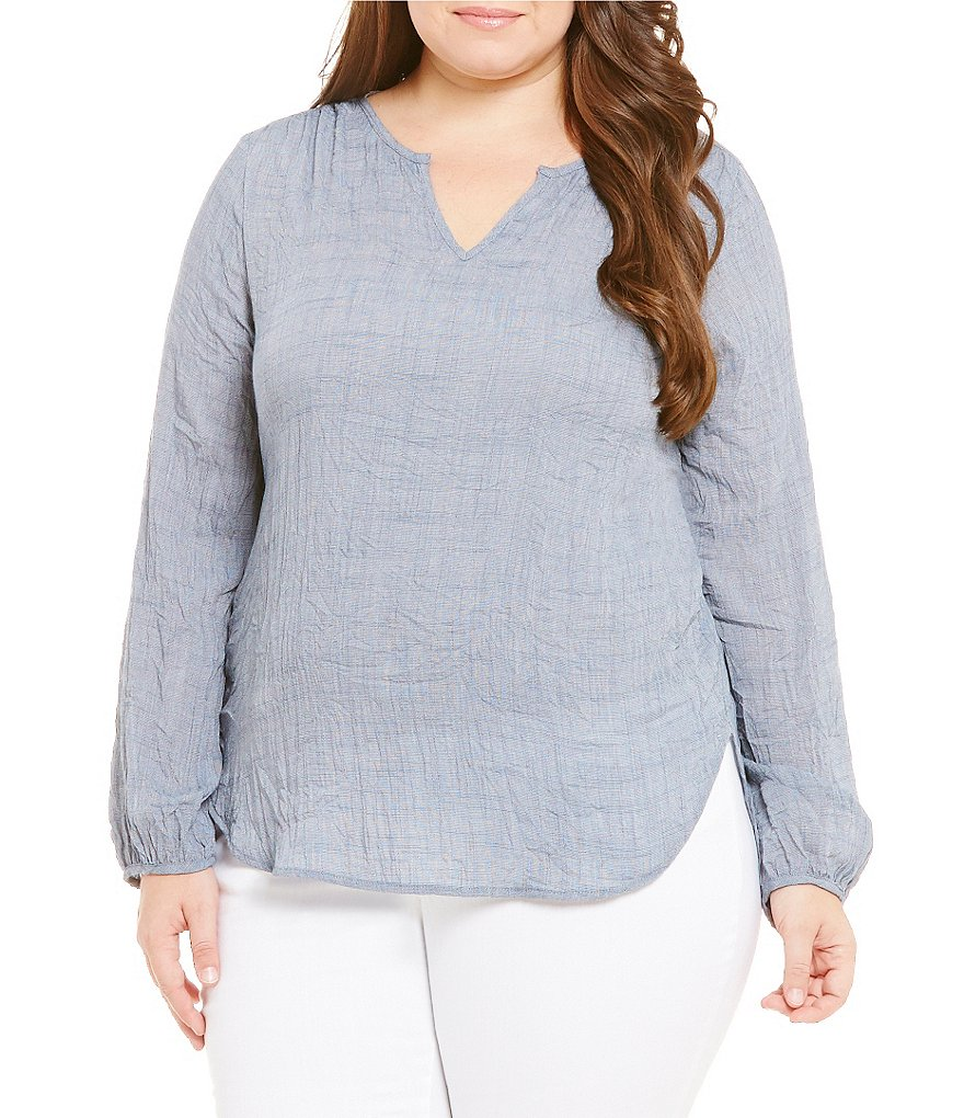 Blu Pepper Plus Long Sleeve V-Neck Hi-Low Hem Solid Shirt