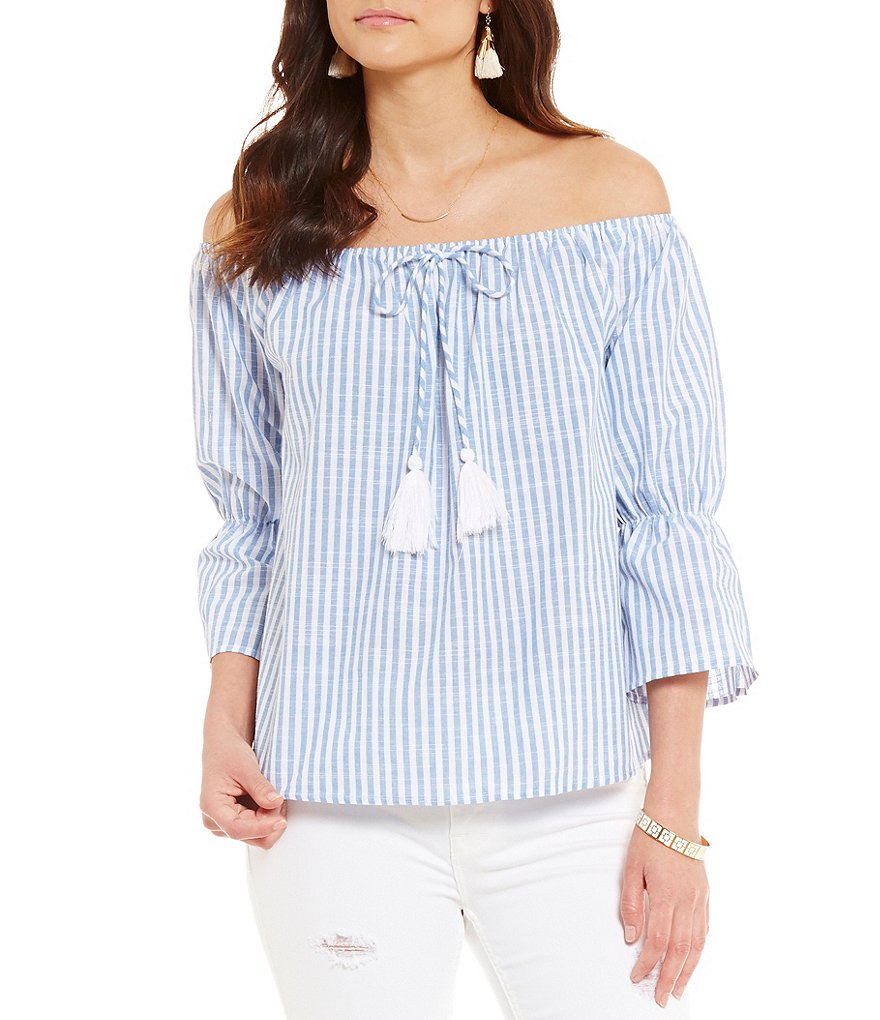 Blu Pepper Striped Poplin Off-The-Shoulder Bell Sleeve Top