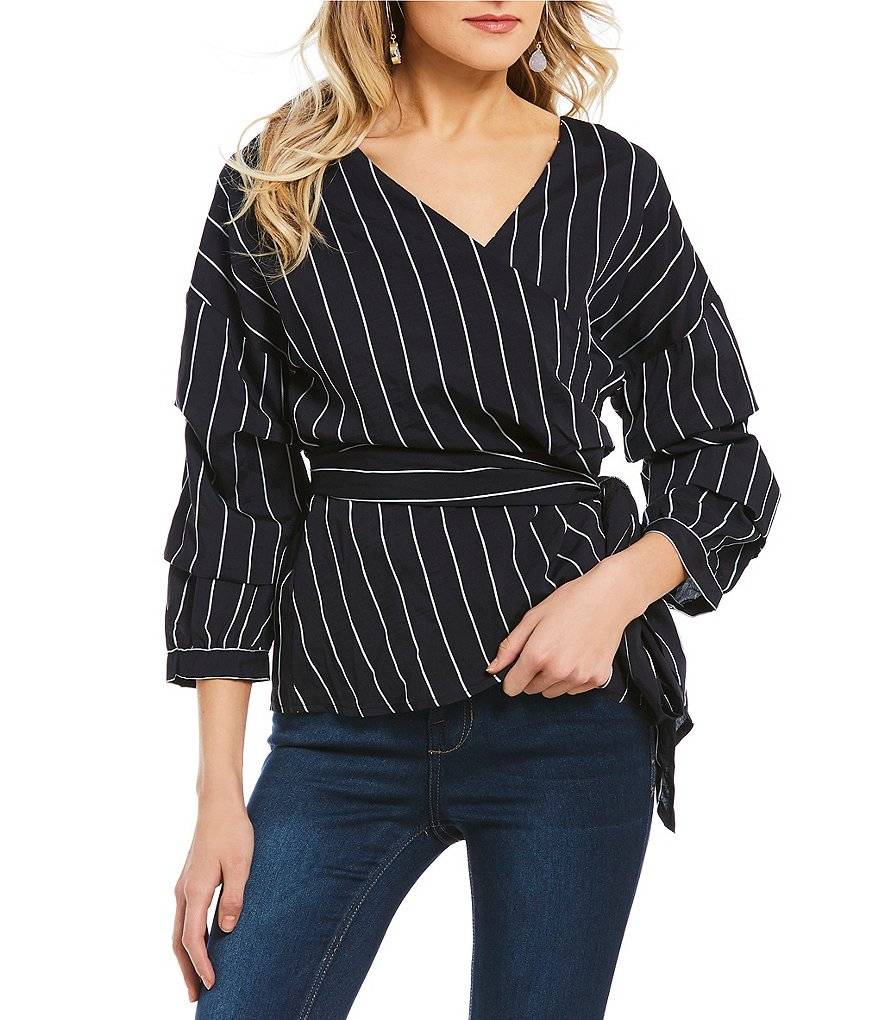 Blu Pepper Striped Tiered Blouson Sleeve Wrap Top