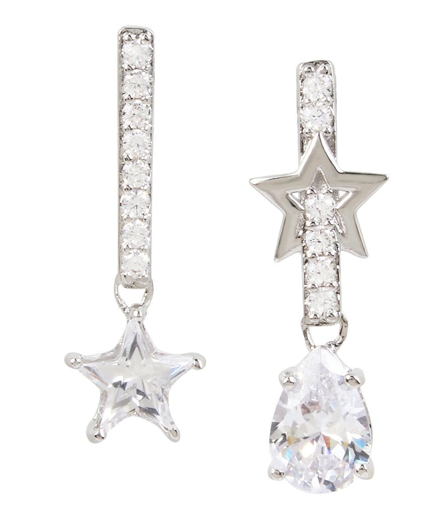 Blue by Betsey Johnson Celestial Crystal Star Mismatch Statement Earrings