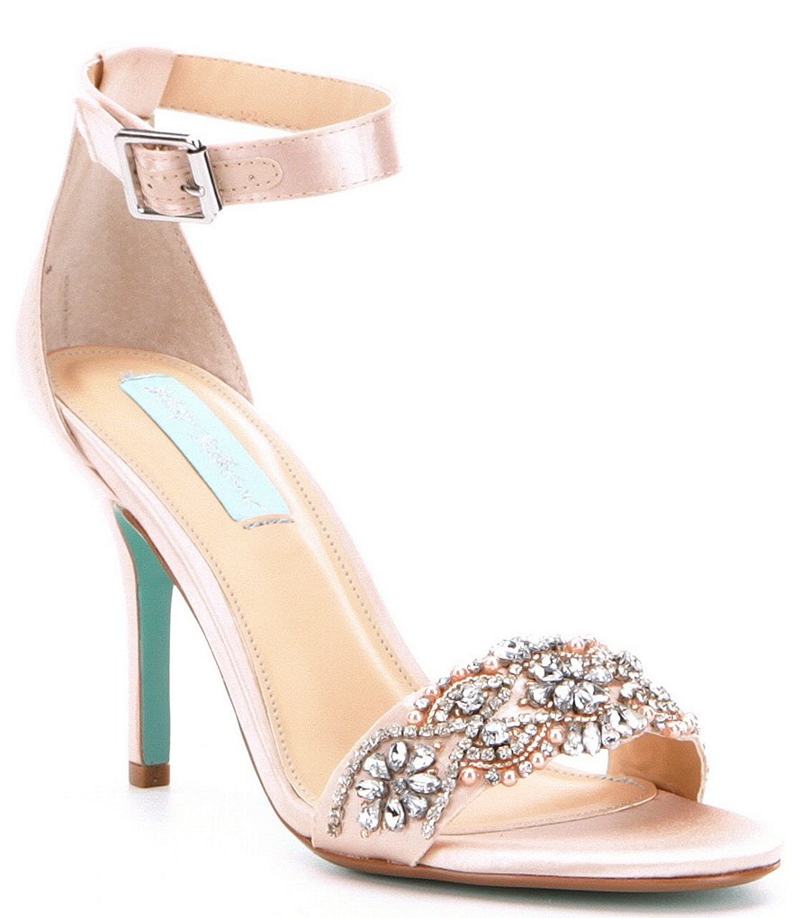 Betsey Johnson Blue by Betsey Johnson Drew Satin Rhinestone Detail Ankle Strap Dress Sandals