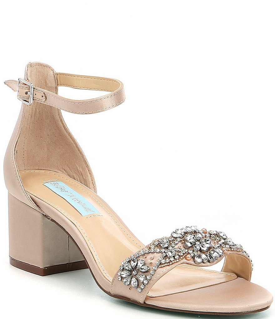 Betsey Johnson Blue by Betsey Johnson Mel Bejeweled Satin Block Heel Dress Sandals