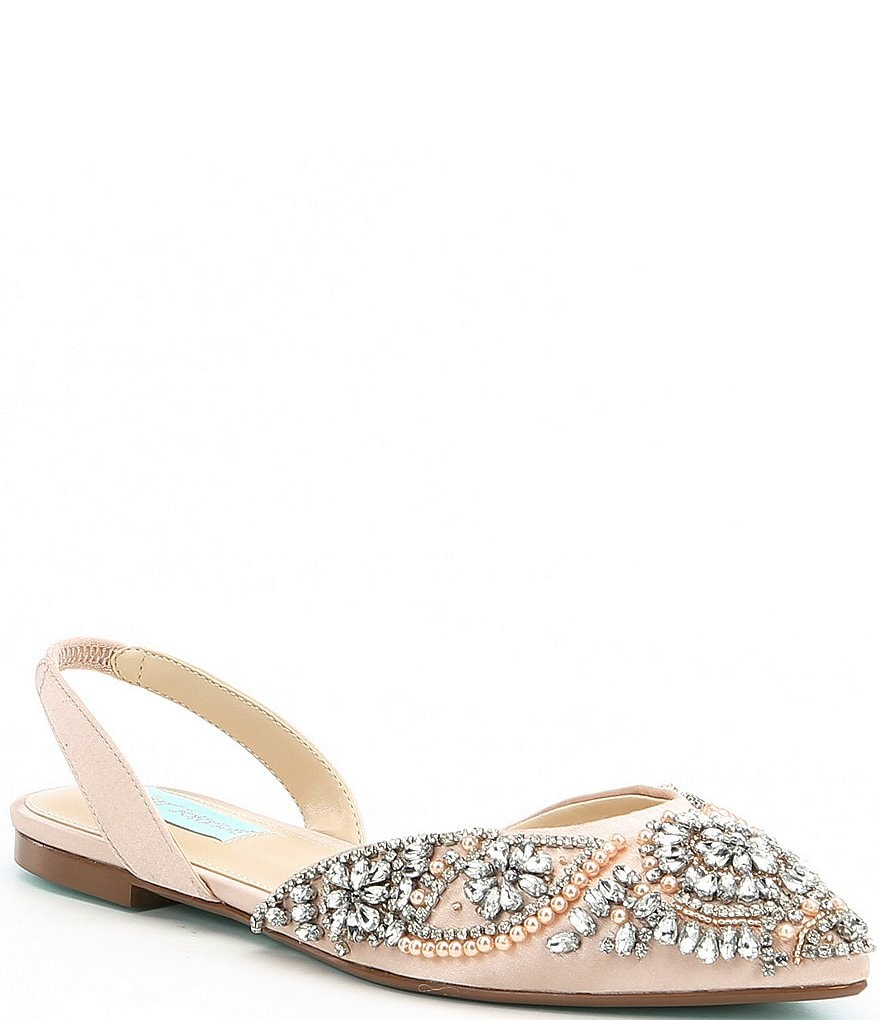 Blue by Betsey Johnson Molly Rhinestone Slingback Dress Flats | Dillards